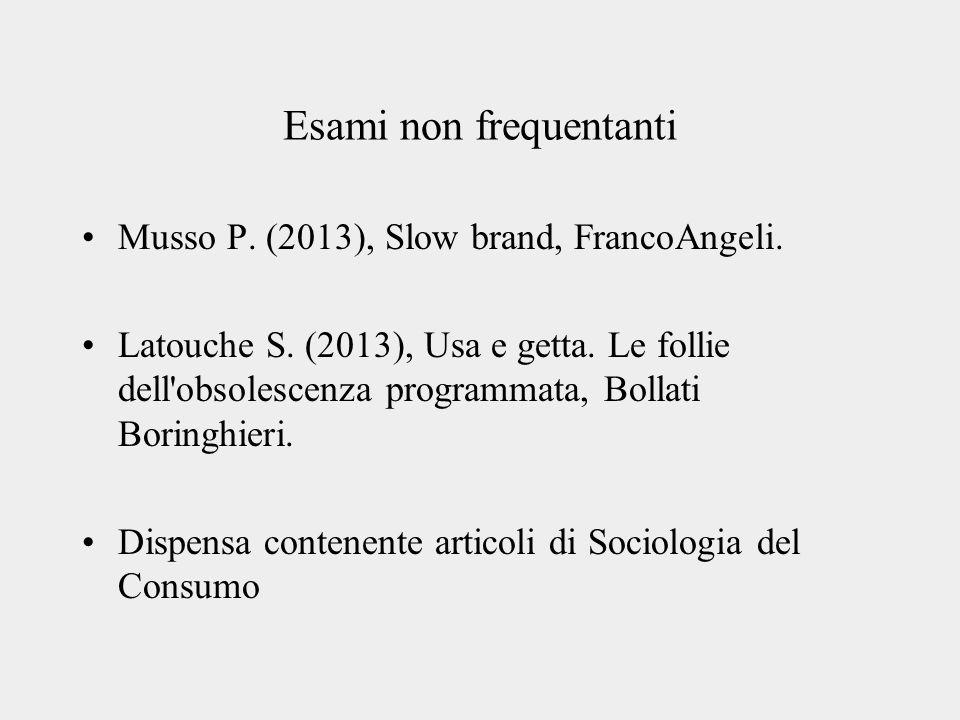 Esami non frequentanti Musso P. (2013), Slow brand, FrancoAngeli.