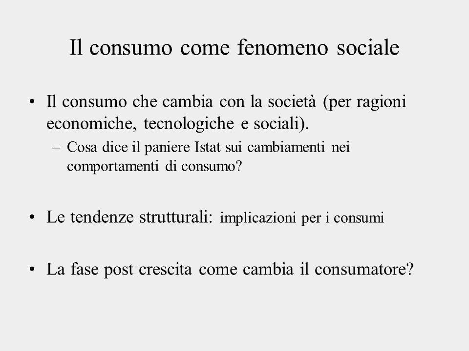 Il consumo come fenomeno sociale Il consumo che cambia con la società (per ragioni economiche, tecnologiche e sociali).