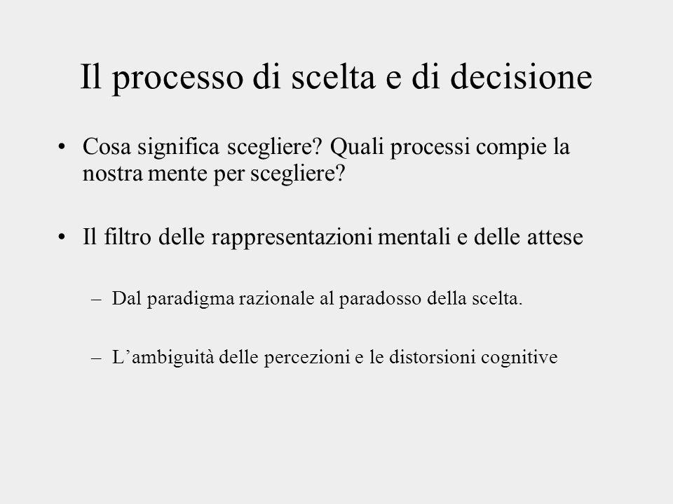 Il processo di scelta e di decisione Cosa significa scegliere.