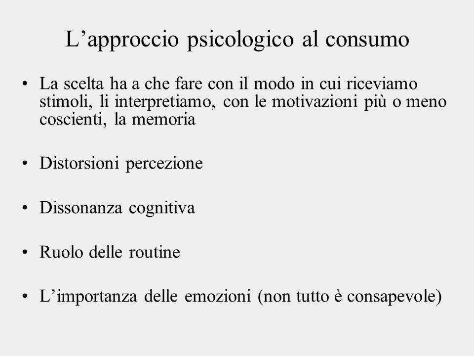 L'approccio psicologico al consumo La scelta ha a che fare con il modo in cui riceviamo stimoli, li interpretiamo, con le motivazioni più o meno coscienti, la memoria Distorsioni percezione Dissonanza cognitiva Ruolo delle routine L'importanza delle emozioni (non tutto è consapevole)