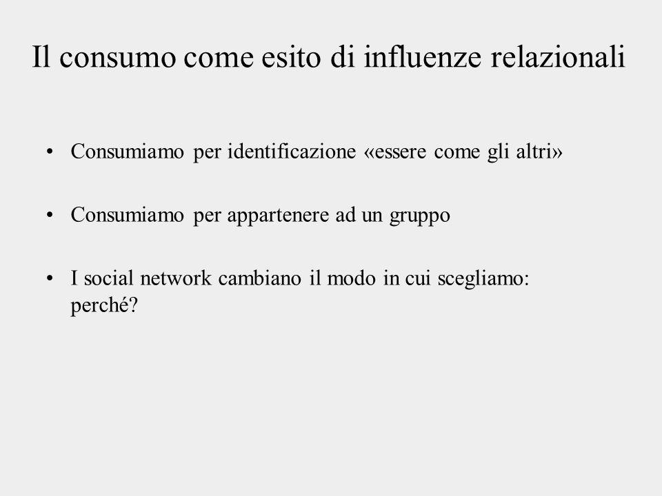 Il consumo come esito di influenze relazionali Consumiamo per identificazione «essere come gli altri» Consumiamo per appartenere ad un gruppo I social network cambiano il modo in cui scegliamo: perché