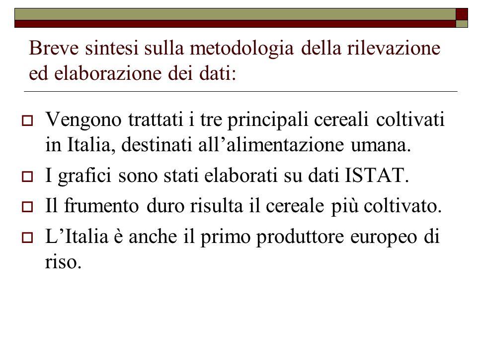 Breve sintesi sulla metodologia della rilevazione ed elaborazione dei dati:  Vengono trattati i tre principali cereali coltivati in Italia, destinati