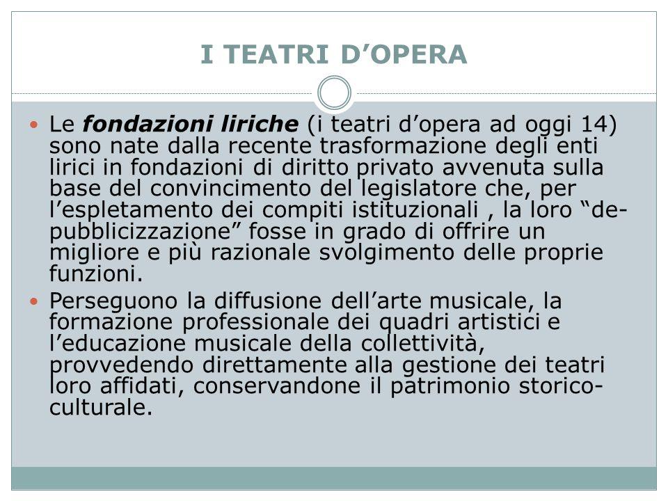 I TEATRI D'OPERA Le fondazioni liriche (i teatri d'opera ad oggi 14) sono nate dalla recente trasformazione degli enti lirici in fondazioni di diritto