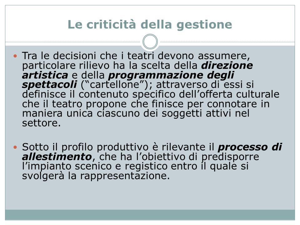 Le criticità della gestione Tra le decisioni che i teatri devono assumere, particolare rilievo ha la scelta della direzione artistica e della programm