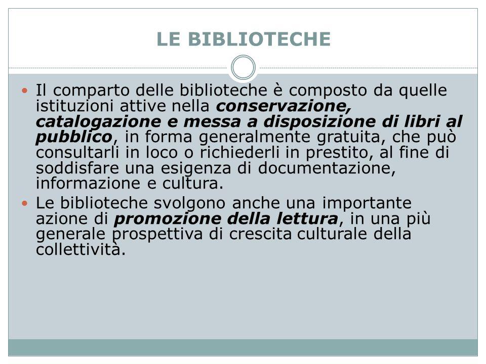 LE BIBLIOTECHE Il comparto delle biblioteche è composto da quelle istituzioni attive nella conservazione, catalogazione e messa a disposizione di libr