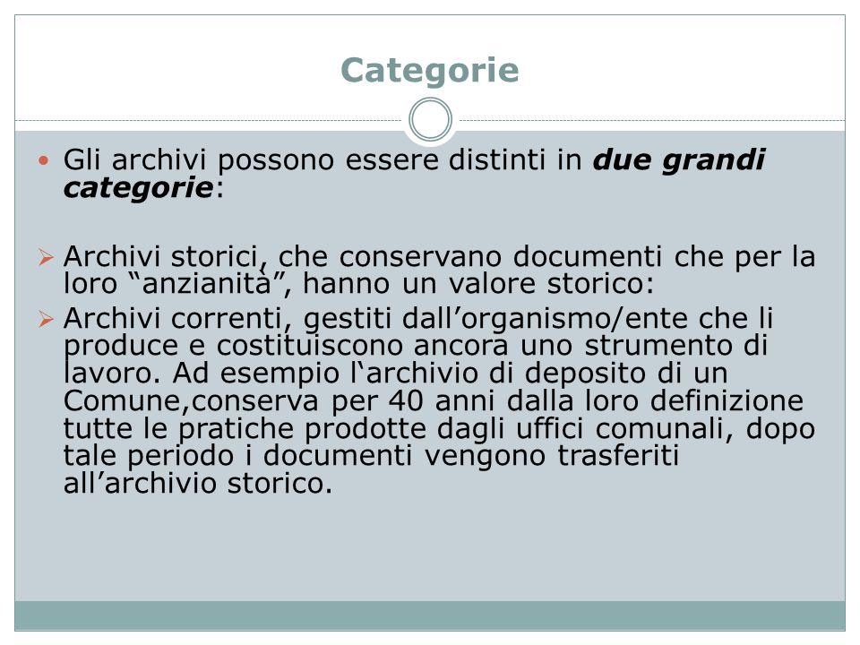 """Categorie Gli archivi possono essere distinti in due grandi categorie:  Archivi storici, che conservano documenti che per la loro """"anzianità"""", hanno"""