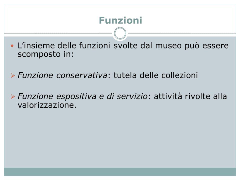 Funzioni L'insieme delle funzioni svolte dal museo può essere scomposto in:  Funzione conservativa: tutela delle collezioni  Funzione espositiva e d
