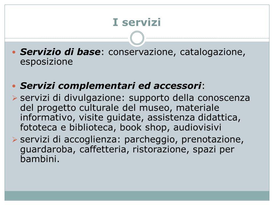 I servizi Servizio di base: conservazione, catalogazione, esposizione Servizi complementari ed accessori:  servizi di divulgazione: supporto della co
