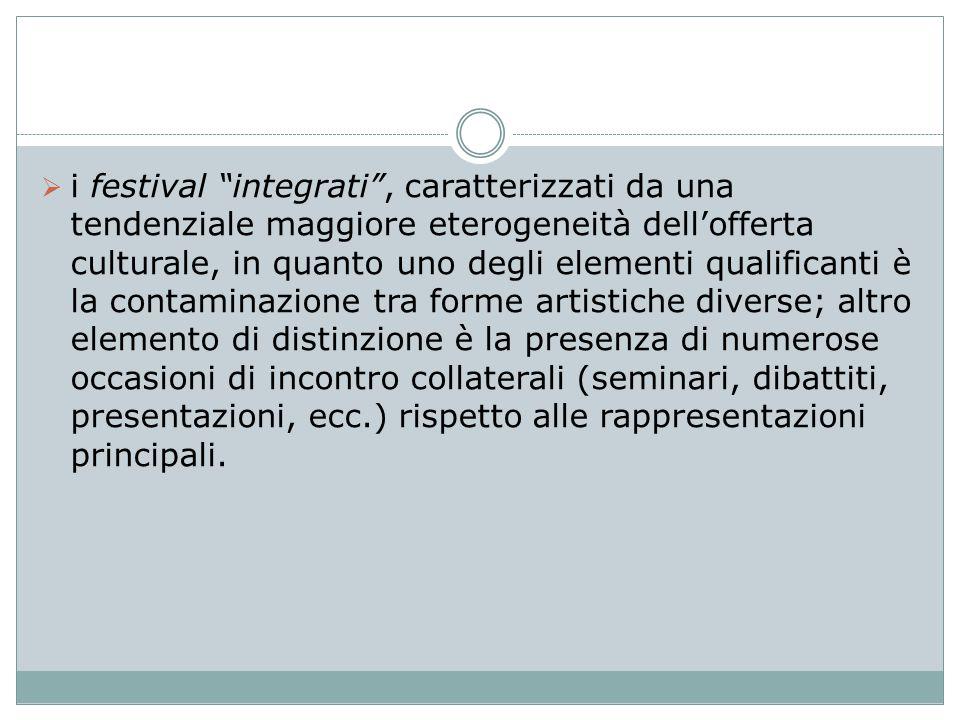 """ i festival """"integrati"""", caratterizzati da una tendenziale maggiore eterogeneità dell'offerta culturale, in quanto uno degli elementi qualificanti è"""