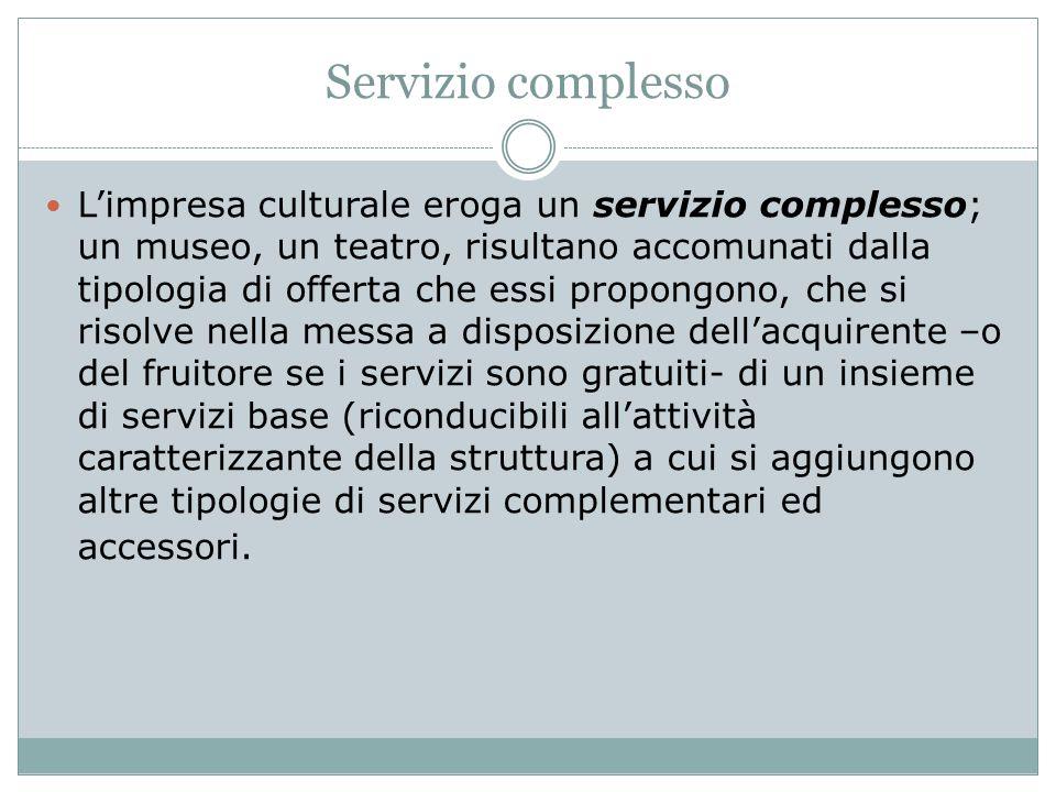 Servizio complesso L'impresa culturale eroga un servizio complesso; un museo, un teatro, risultano accomunati dalla tipologia di offerta che essi prop