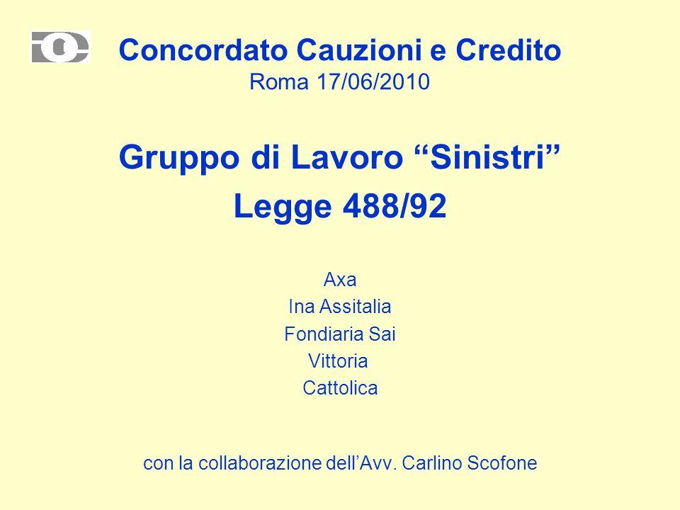 Concordato Cauzioni e Credito Roma 17/06/2010 Gruppo di Lavoro Sinistri Legge 488/92 Axa Ina Assitalia Fondiaria Sai Vittoria Cattolica con la collaborazione dell'Avv.