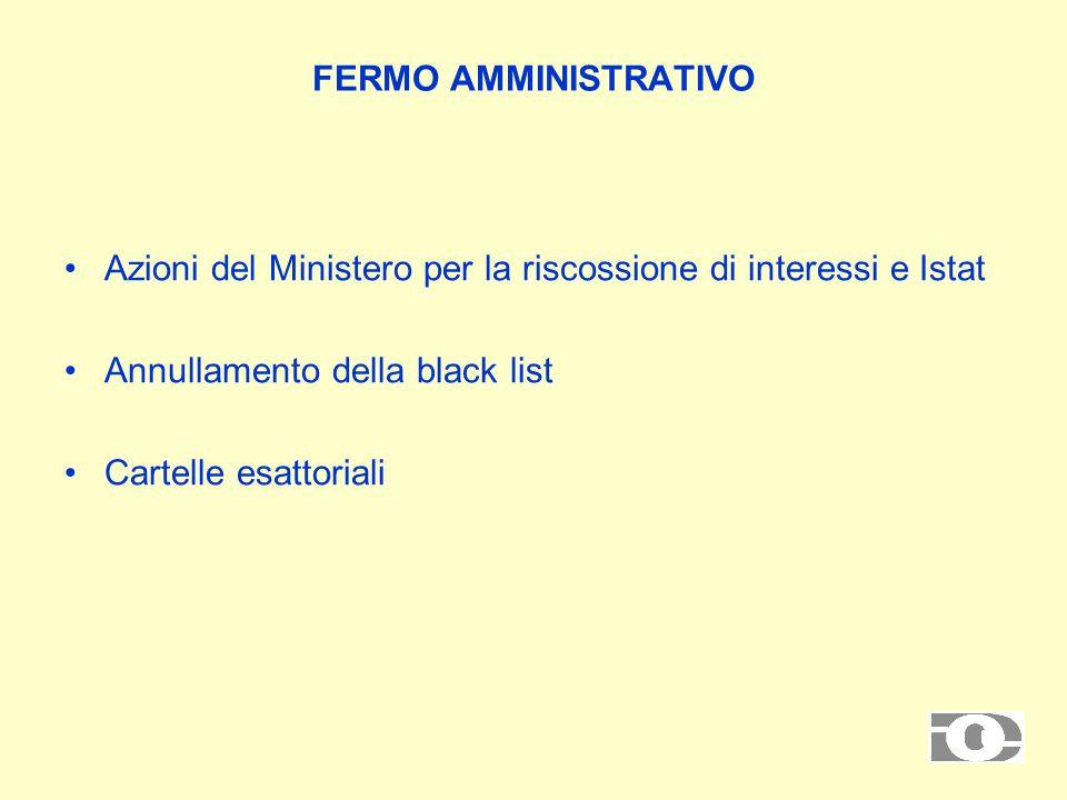 FERMO AMMINISTRATIVO Azioni del Ministero per la riscossione di interessi e Istat Annullamento della black list Cartelle esattoriali
