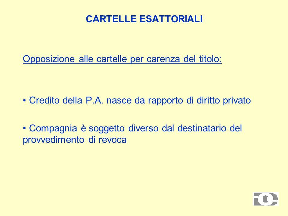 CARTELLE ESATTORIALI Opposizione alle cartelle per carenza del titolo: Credito della P.A.