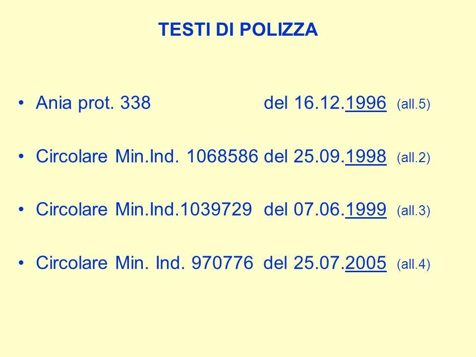 TESTI DI POLIZZA Ania prot. 338 del 16.12.1996 (all.5) Circolare Min.Ind.