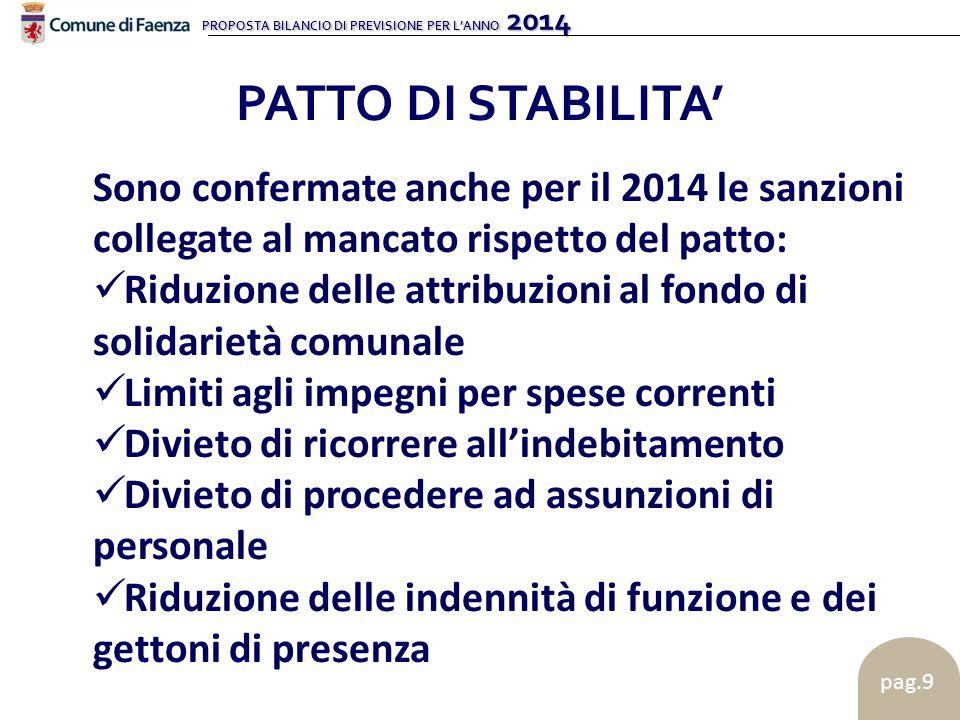 PROPOSTA BILANCIO DI PREVISIONE PER L'ANNO 2014 pag.9 PATTO DI STABILITA' Sono confermate anche per il 2014 le sanzioni collegate al mancato rispetto