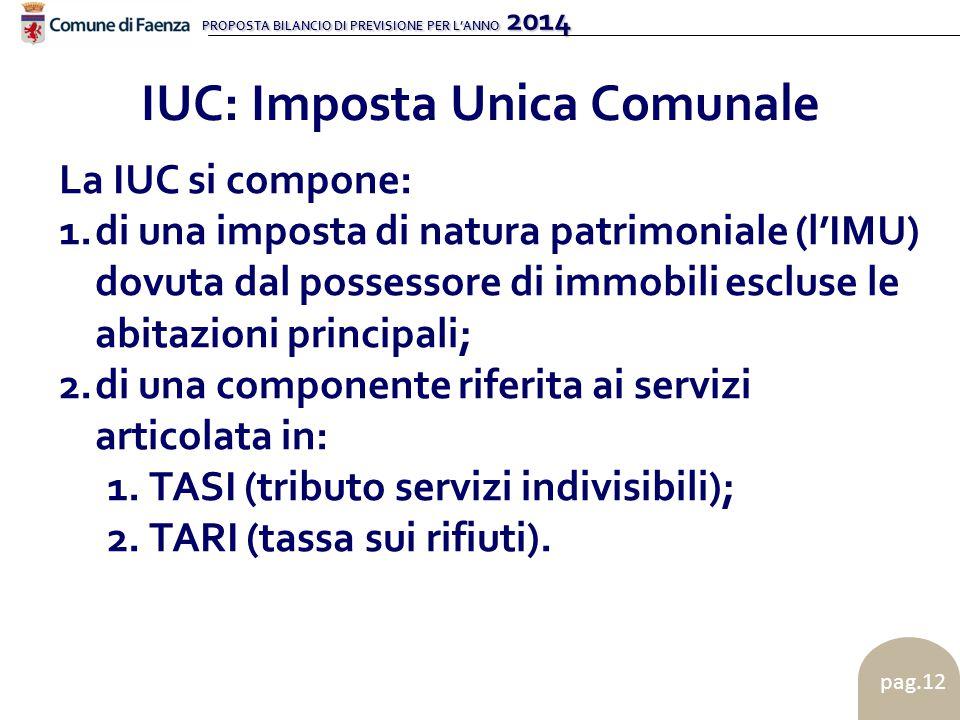 PROPOSTA BILANCIO DI PREVISIONE PER L'ANNO 2014 pag.12 IUC: Imposta Unica Comunale La IUC si compone: 1.di una imposta di natura patrimoniale (l'IMU)