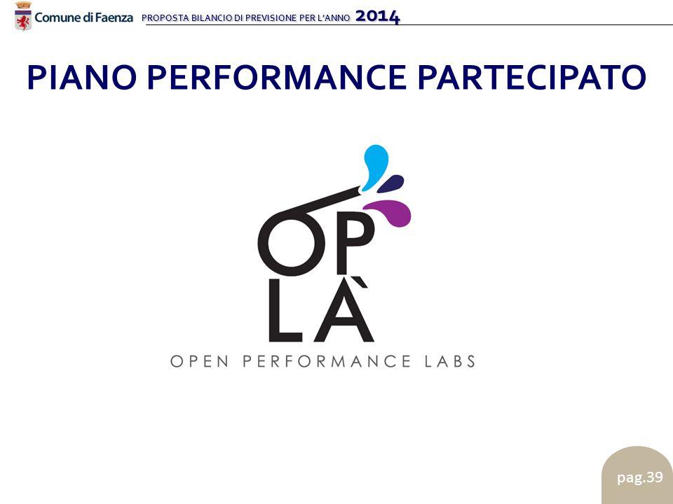 PROPOSTA BILANCIO DI PREVISIONE PER L'ANNO 2014 pag.39 PIANO PERFORMANCE PARTECIPATO