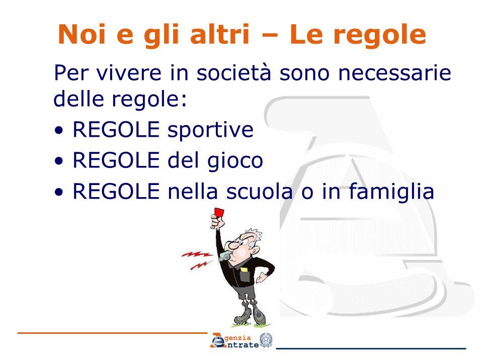 Noi e gli altri – Le regole Per vivere in società sono necessarie delle regole: REGOLE sportive REGOLE del gioco REGOLE nella scuola o in famiglia