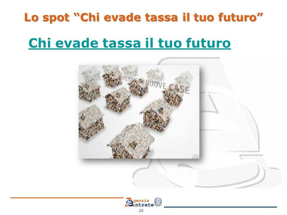 Lo spot Chi evade tassa il tuo futuro Chi evade tassa il tuo futuro 26