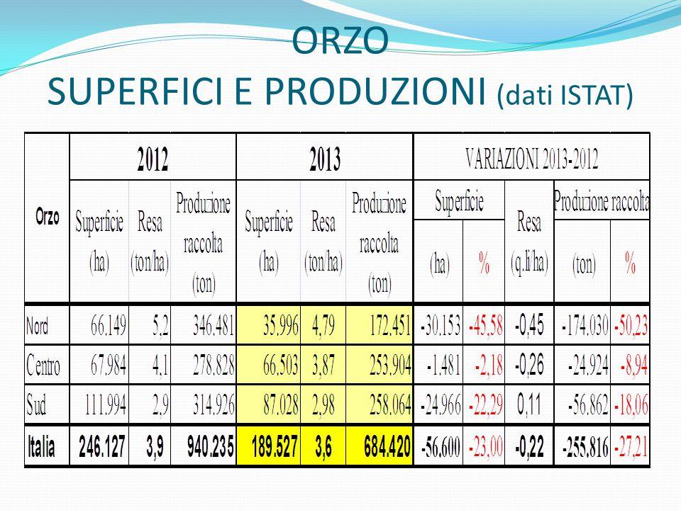 ORZO SUPERFICI E PRODUZIONI (dati ISTAT)