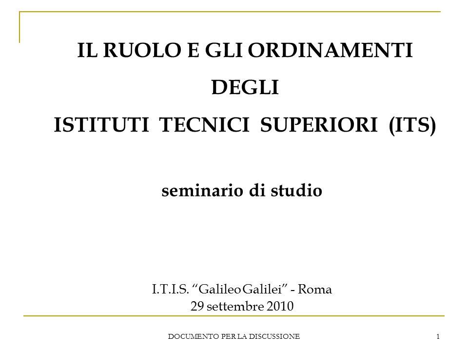 DOCUMENTO PER LA DISCUSSIONE 1 IL RUOLO E GLI ORDINAMENTI DEGLI ISTITUTI TECNICI SUPERIORI (ITS) seminario di studio I.T.I.S.