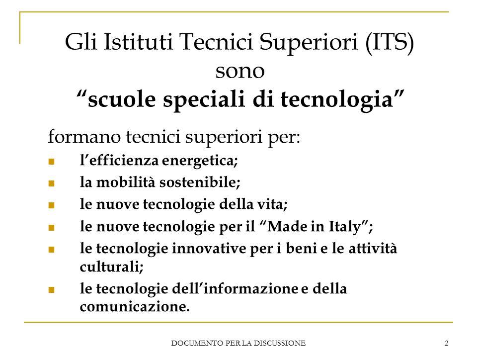 DOCUMENTO PER LA DISCUSSIONE 2 Gli Istituti Tecnici Superiori (ITS) sono scuole speciali di tecnologia formano tecnici superiori per: l'efficienza energetica; la mobilità sostenibile; le nuove tecnologie della vita; le nuove tecnologie per il Made in Italy ; le tecnologie innovative per i beni e le attività culturali; le tecnologie dell'informazione e della comunicazione.
