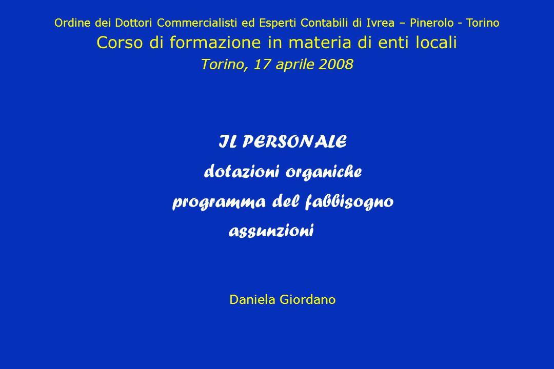 IL PERSONALE dotazioni organiche programma del fabbisogno assunzioni Daniela Giordano Ordine dei Dottori Commercialisti ed Esperti Contabili di Ivrea