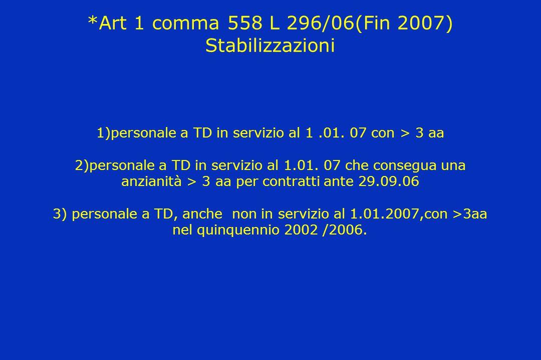 *Art 1 comma 558 L 296/06(Fin 2007) Stabilizzazioni 1)personale a TD in servizio al 1.01. 07 con > 3 aa 2)personale a TD in servizio al 1.01. 07 che c