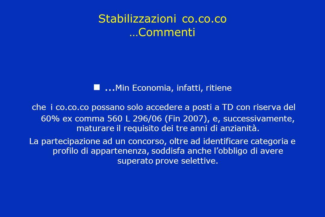 Stabilizzazioni co.co.co …Commenti … Min Economia, infatti, ritiene che i co.co.co possano solo accedere a posti a TD con riserva del 60% ex comma 560