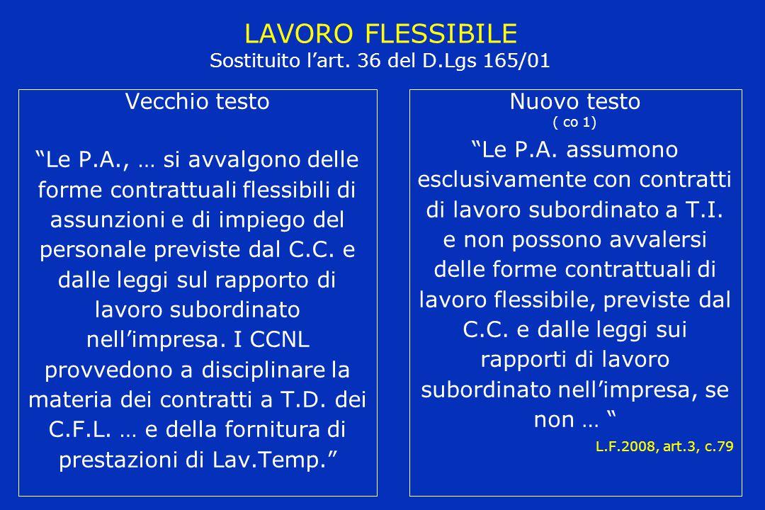 """LAVORO FLESSIBILE Sostituito l'art. 36 del D.Lgs 165/01 Vecchio testo """"Le P.A., … si avvalgono delle forme contrattuali flessibili di assunzioni e di"""