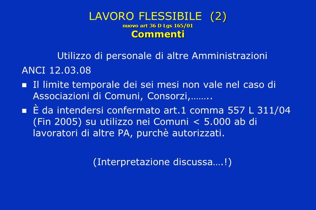 (2) nuovo art 36 D Lgs 165/01 Commenti LAVORO FLESSIBILE (2) nuovo art 36 D Lgs 165/01 Commenti Utilizzo di personale di altre Amministrazioni ANCI 12
