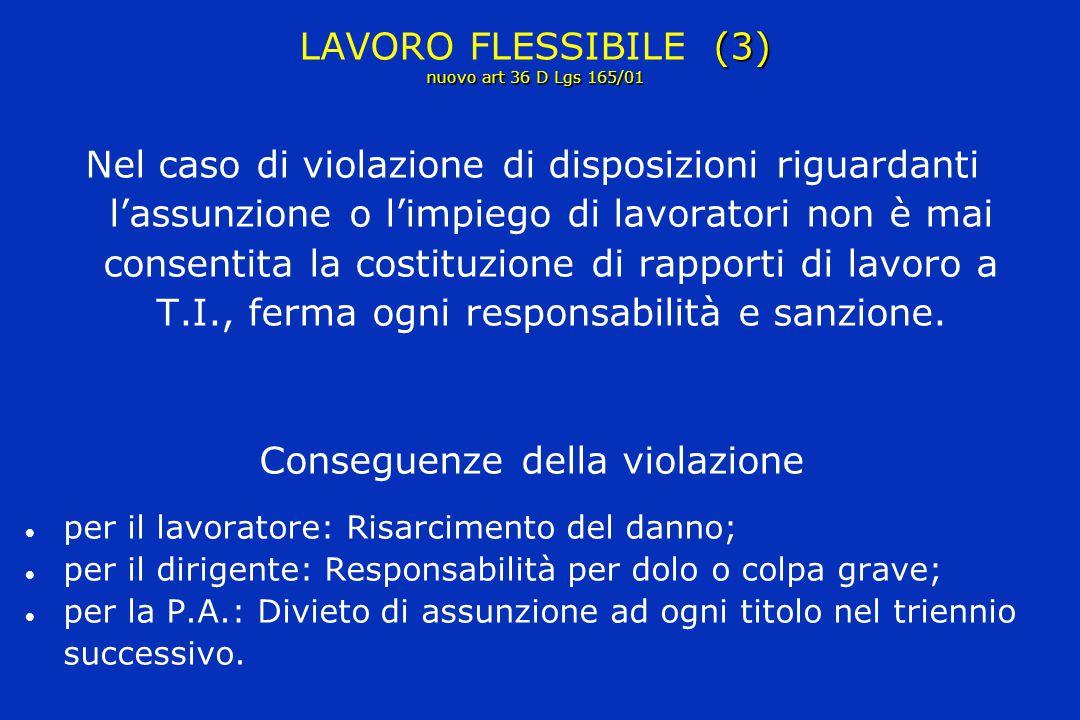 (3) nuovo art 36 D Lgs 165/01 LAVORO FLESSIBILE (3) nuovo art 36 D Lgs 165/01 Nel caso di violazione di disposizioni riguardanti l'assunzione o l'impi