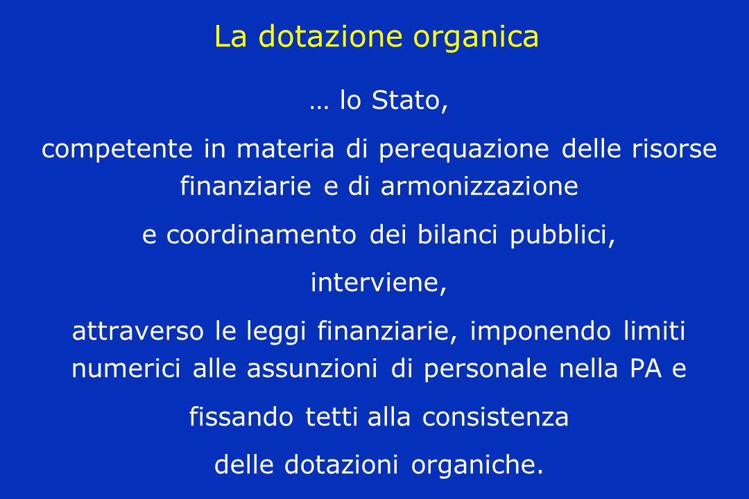 La dotazione organica … lo Stato, competente in materia di perequazione delle risorse finanziarie e di armonizzazione e coordinamento dei bilanci pubb