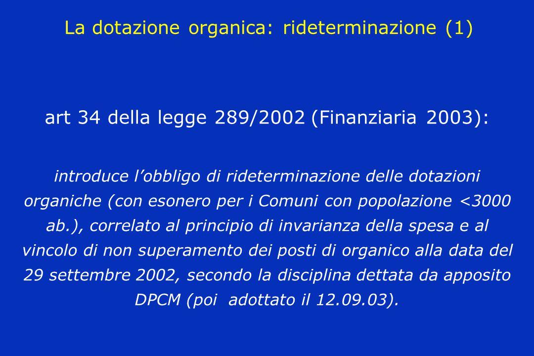 La dotazione organica: rideterminazione (1) art 34 della legge 289/2002 (Finanziaria 2003): introduce l'obbligo di rideterminazione delle dotazioni or