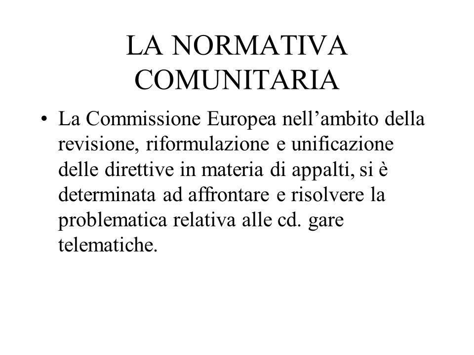 LA NORMATIVA COMUNITARIA La Commissione Europea nell'ambito della revisione, riformulazione e unificazione delle direttive in materia di appalti, si è determinata ad affrontare e risolvere la problematica relativa alle cd.