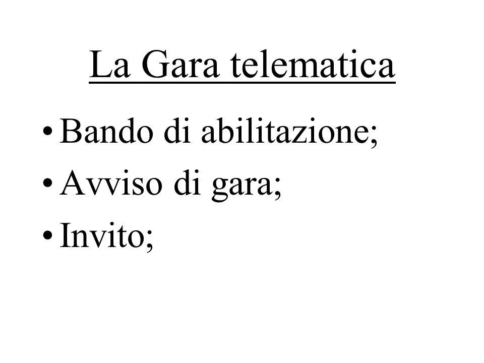 La Gara telematica Bando di abilitazione; Avviso di gara; Invito;