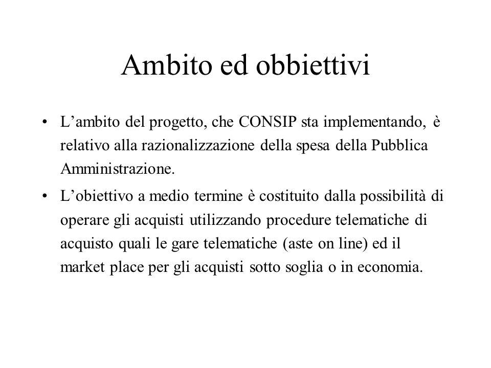 Ambito ed obbiettivi L'ambito del progetto, che CONSIP sta implementando, è relativo alla razionalizzazione della spesa della Pubblica Amministrazione.