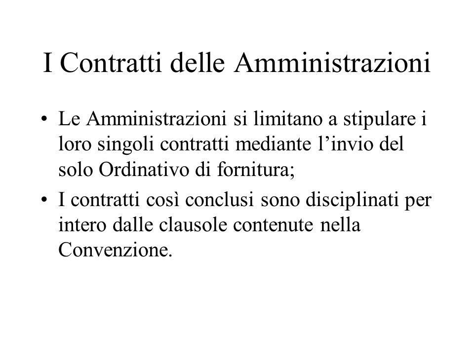 I Contratti delle Amministrazioni Le Amministrazioni si limitano a stipulare i loro singoli contratti mediante l'invio del solo Ordinativo di fornitura; I contratti così conclusi sono disciplinati per intero dalle clausole contenute nella Convenzione.