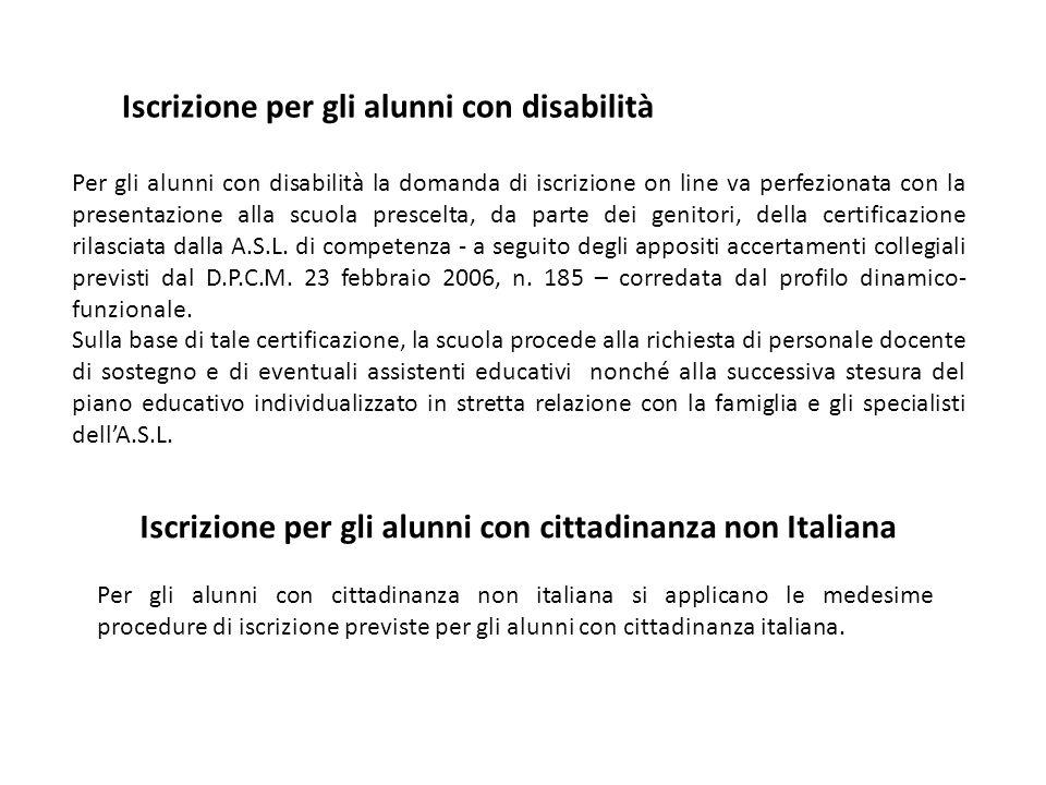 Iscrizione per gli alunni con disabilità Per gli alunni con disabilità la domanda di iscrizione on line va perfezionata con la presentazione alla scuola prescelta, da parte dei genitori, della certificazione rilasciata dalla A.S.L.