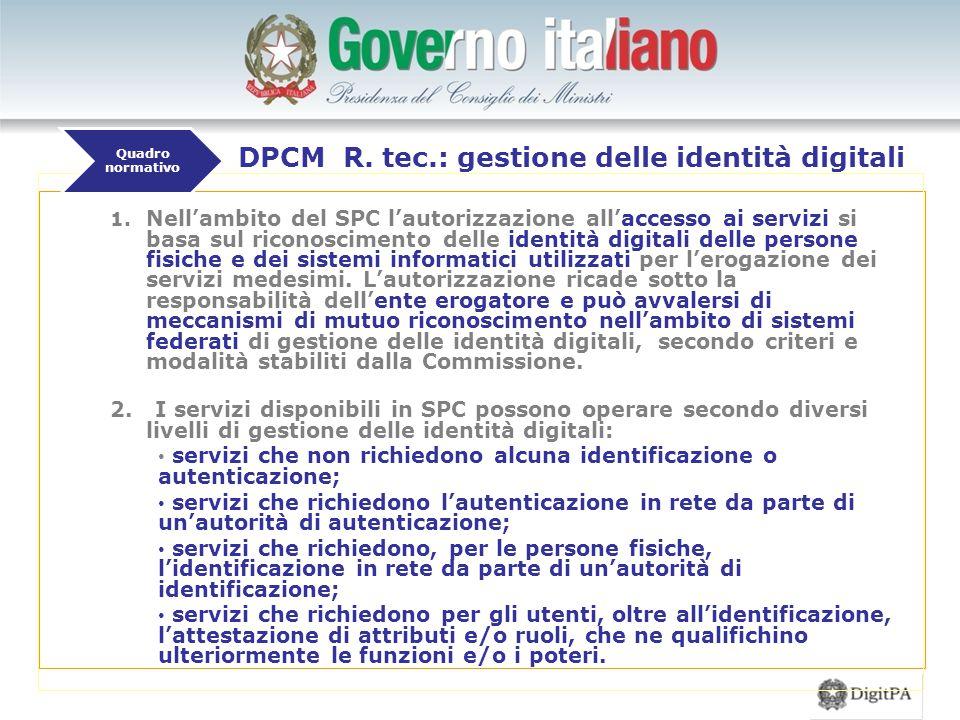 1. Nell'ambito del SPC l'autorizzazione all'accesso ai servizi si basa sul riconoscimento delle identità digitali delle persone fisiche e dei sistemi