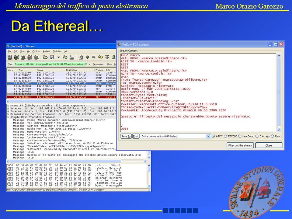 Da Ethereal… Monitoraggio del traffico di posta elettronica Marco Orazio Garozzo Da Ethereal…