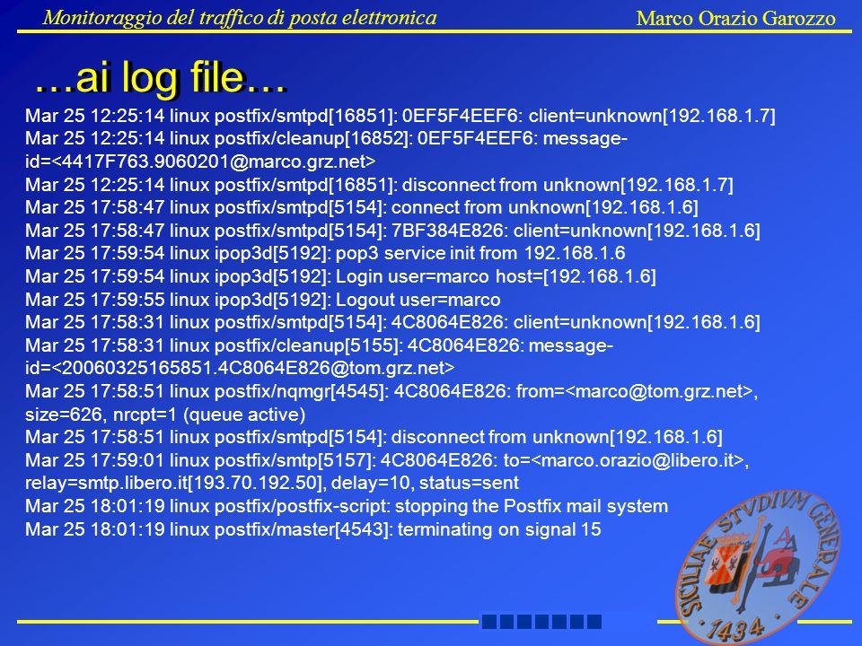 Monitoraggio del traffico di posta elettronica Marco Orazio Garozzo …ai log file… Mar 25 12:25:14 linux postfix/smtpd[16851]: 0EF5F4EEF6: client=unkno