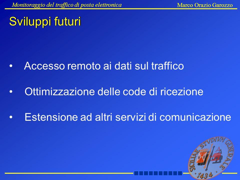 Sviluppi futuri Monitoraggio del traffico di posta elettronica Marco Orazio Garozzo Sviluppi futuri Accesso remoto ai dati sul traffico Ottimizzazione delle code di ricezione Estensione ad altri servizi di comunicazione