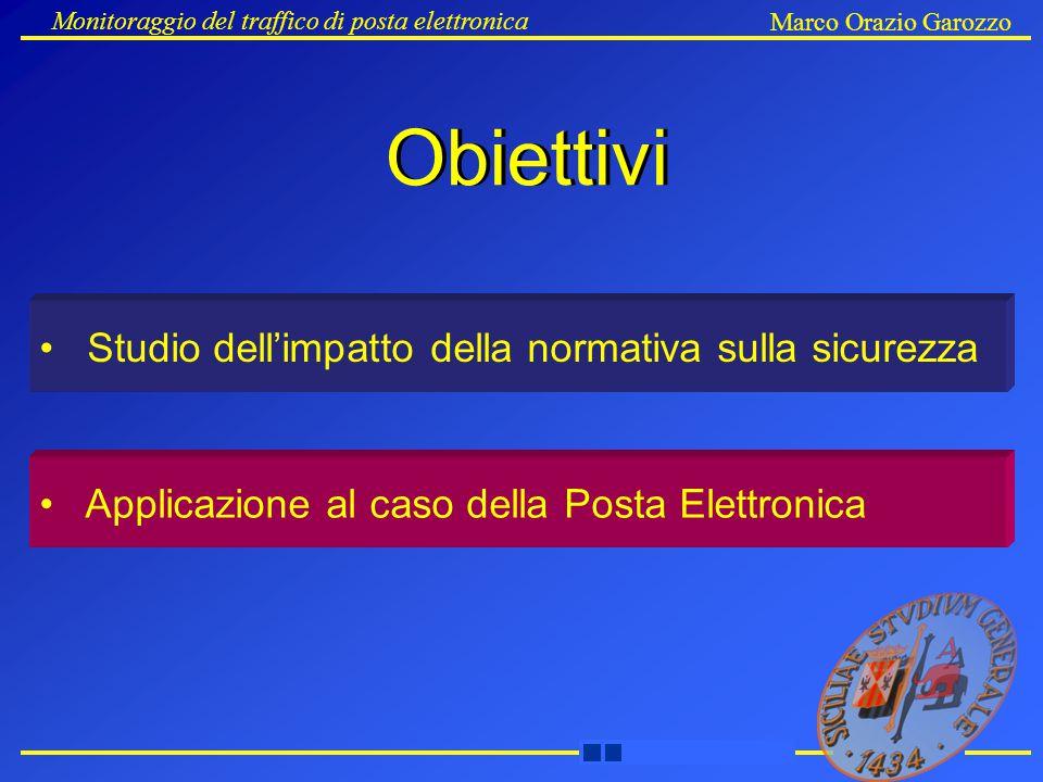 Monitoraggio del traffico di posta elettronica Marco Orazio Garozzo Obiettivi Studio dell'impatto della normativa sulla sicurezza Applicazione al caso della Posta Elettronica