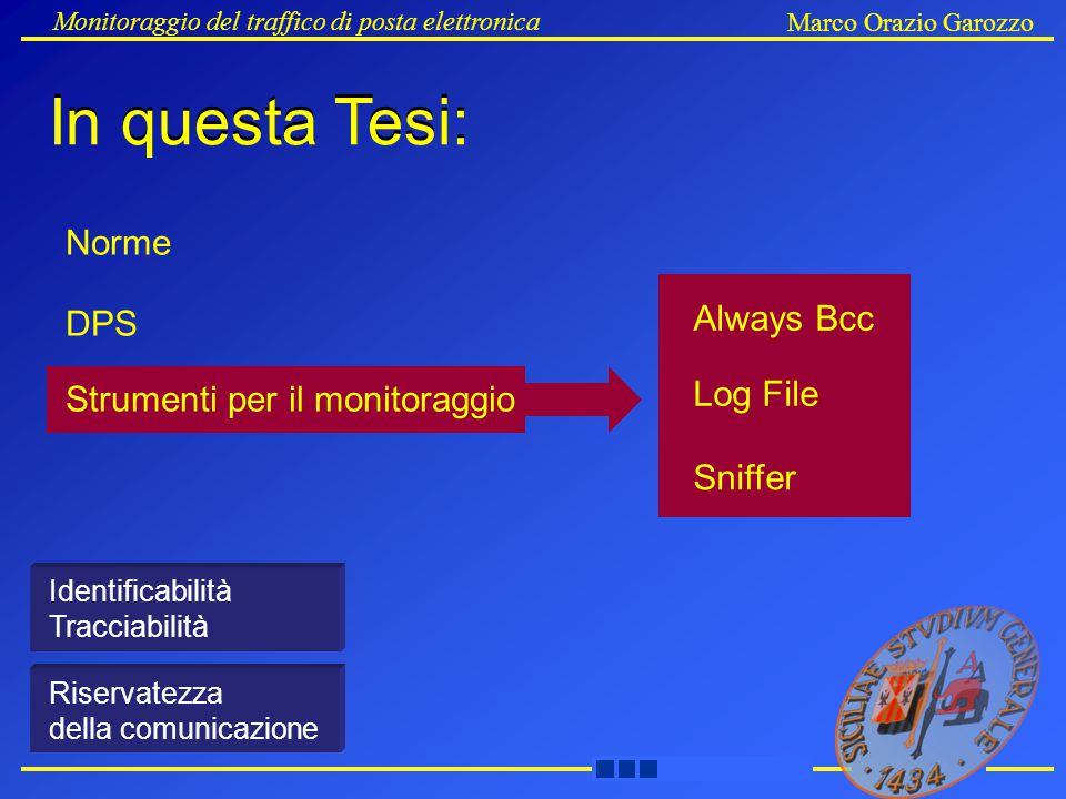 Always Bcc Log File Sniffer Strumenti per il monitoraggio Monitoraggio del traffico di posta elettronica Marco Orazio Garozzo DPS Norme Identificabilità Tracciabilità Riservatezza della comunicazione In questa Tesi: