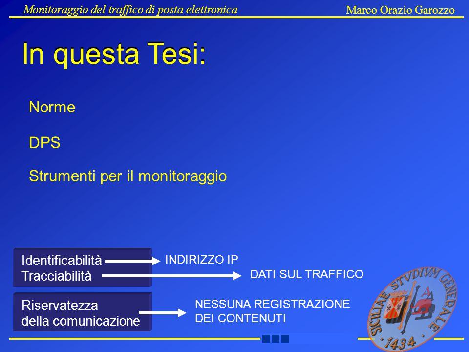 Monitoraggio del traffico di posta elettronica Marco Orazio Garozzo Strumenti per il monitoraggio DPS Norme Identificabilità Tracciabilità Riservatezza della comunicazione INDIRIZZO IP DATI SUL TRAFFICO NESSUNA REGISTRAZIONE DEI CONTENUTI In questa Tesi:
