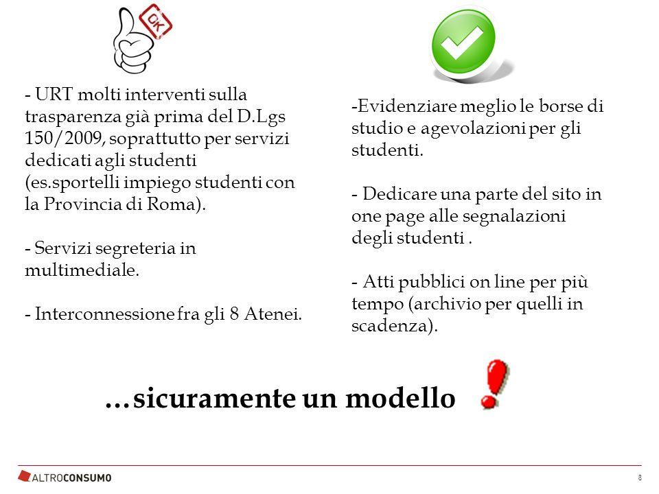 - URT molti interventi sulla trasparenza già prima del D.Lgs 150/2009, soprattutto per servizi dedicati agli studenti (es.sportelli impiego studenti con la Provincia di Roma).