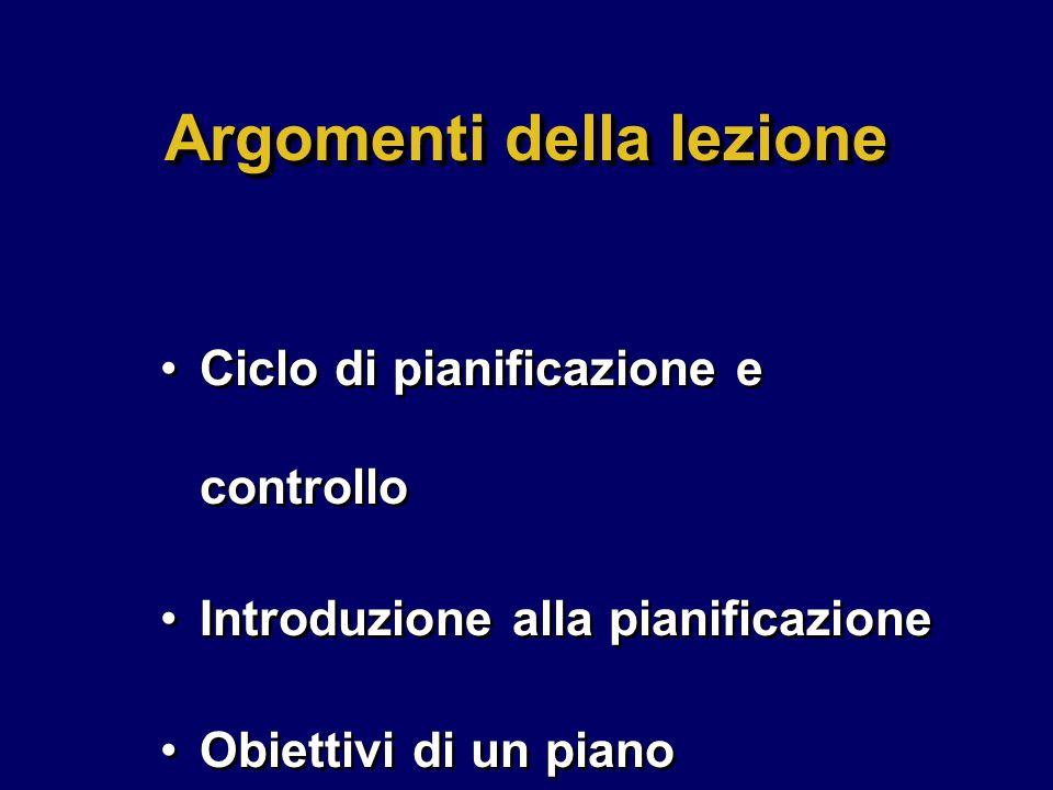 Argomenti della lezione Ciclo di pianificazione e controllo Introduzione alla pianificazione Obiettivi di un piano Ciclo di pianificazione e controllo Introduzione alla pianificazione Obiettivi di un piano