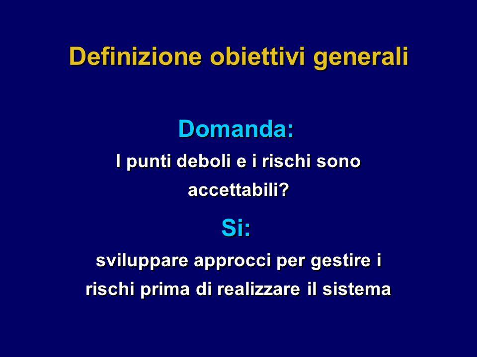 Definizione obiettivi generali Domanda: I punti deboli e i rischi sono accettabili.