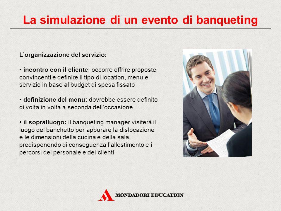 La simulazione di un evento di banqueting L'organizzazione del servizio: incontro con il cliente: occorre offrire proposte convincenti e definire il t
